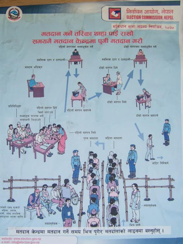Плакат объясняющих процедуру выборов: выходите вы, значит, из загона...