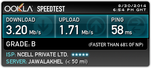 SpeedTest 3G Ncell