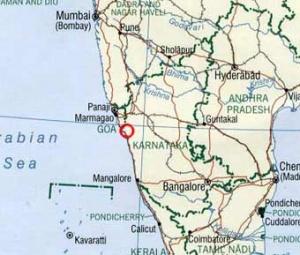 """Красным кругом отмечено место, где находится \""""Кадамба\""""."""