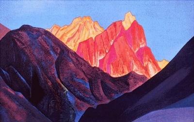 Рерих Н.К.: Гималаи. Красный закат. 1933.