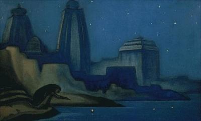 Рерих Николай: Огни на Ганге. 1947.  Государственный Русский музей, Санкт-Петербург