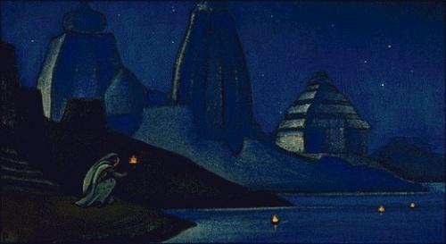 Рерих Николай: Огни на Ганге (Пламя счастья). 1947. Государственный музей Востока, Москва (временно)