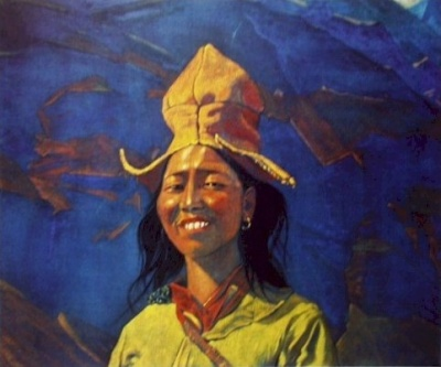 Рерих С.Н.: Девушка в желтом головном уборе. 1930-е. Государственный музей Востока, Москва (временно)
