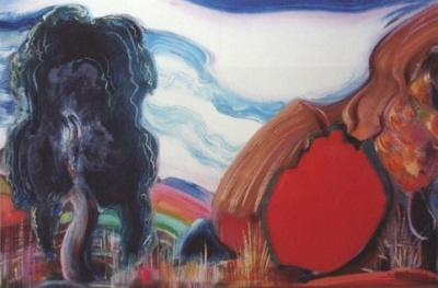 Рерих С.: Кустарники и хижины. 1964. Государственный музей Востока, Москва (временно)