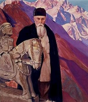 Рерих С.Н.: Николай Рерих у статуи Гуга Чохана. 1937. Музей Н.К.Рериха, Нью-Йорк