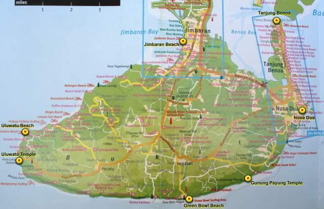 Полуостров Букит и Контрольные Точки на маршруте