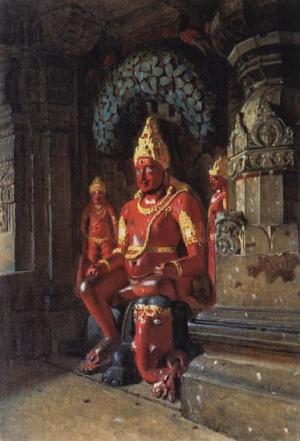Статуя Вишну в храме Индры в Эллоре. 1874-1876
