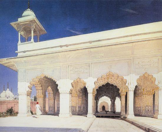 Тронный зал Великих моголов Шах-Джахана и Ауранг-Зеба в форте Дели. 1874-1876