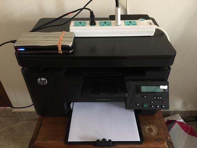 Выживший принтер HP включённый в Belkin