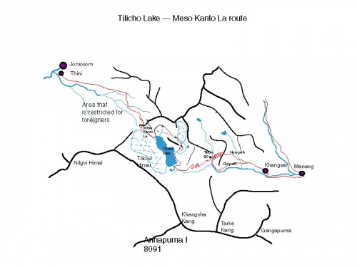 Manang-Jomosom map