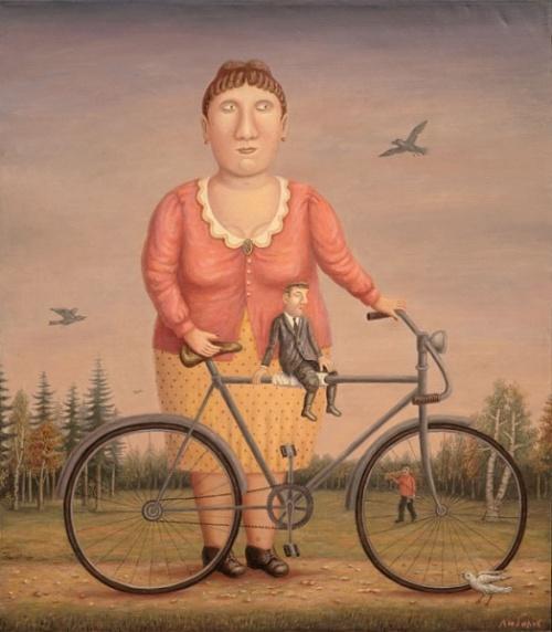 Девушка с велосипедом и мужчиной