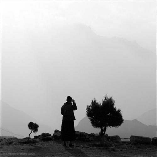 В храме Вишну на закате (Муктинатх)