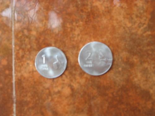 Новые 1 и 2 рупии Индия