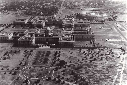 A rare view of the President's palace and the Parliament building in New Delhi .