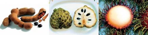 Терпкая мякоть тамаринда, аннона (сахарное яблоко), рамбутан