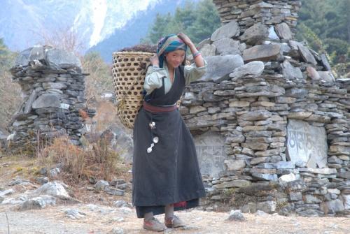 тибетцев в этой долине очень трудно фотографировать - как правило, они закрывают лицо рукой или убегают.  эта девочка спокойно перенесла съемку