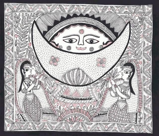 Изображение в стиле Мадхубани