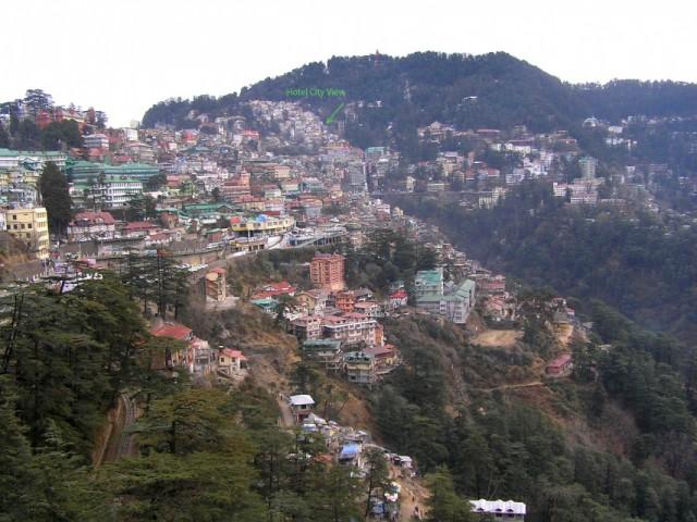 Shimla  вид от железнодорожной станции и отельвдалеке City View