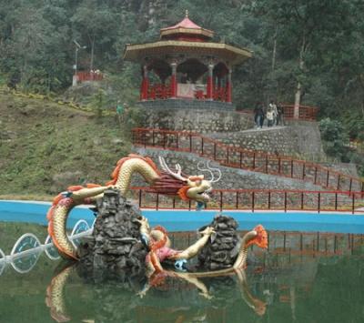 Бассейн с драконом на территории парка