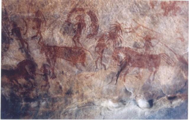 Наскальные рисунки в Бимбетке