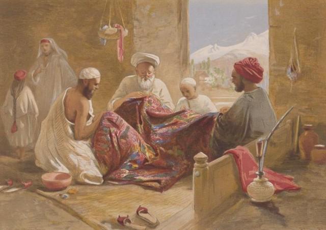 Мусульманская семья ткачей за работой, картина Вильяма Симпсона, 1867 г.