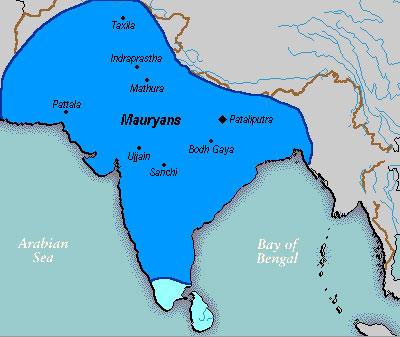 Карта империи Маурьев в пору наибольшего расцвета