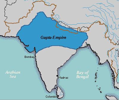 Карта империи Гуптов в 400 г.