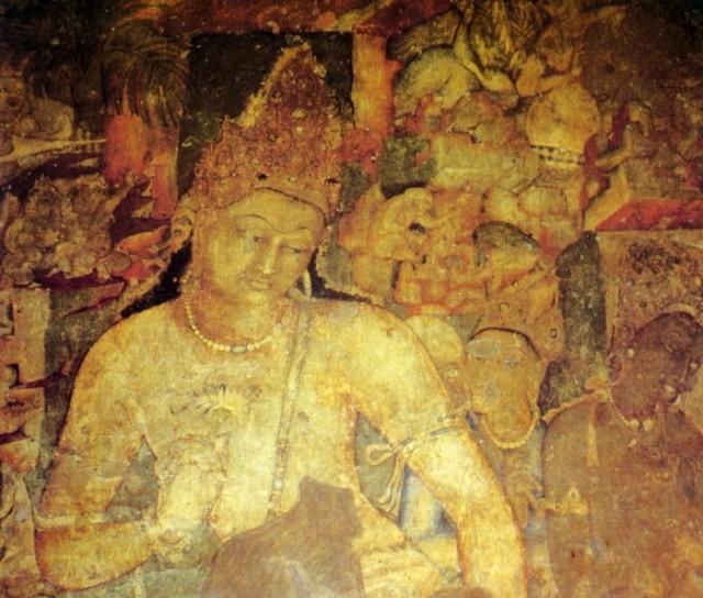 Фрагмент фрески из пещер Аджанты