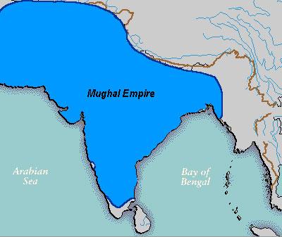 Карта империи Моголов в 17 в.