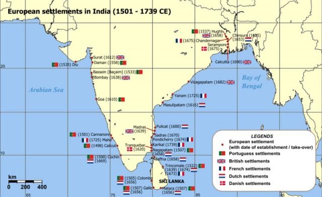 Карта первых европейских поселений в Индии
