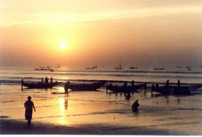 Восход солнца в Пури, Индия
