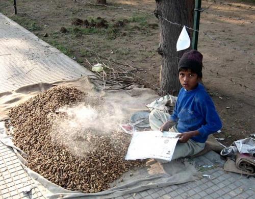 Юный торговец орешками.