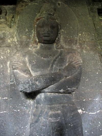 Эллора. Рельеф в буддистской пещере