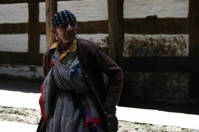 Гималайская бабушка около храма Хадимбы в Манали