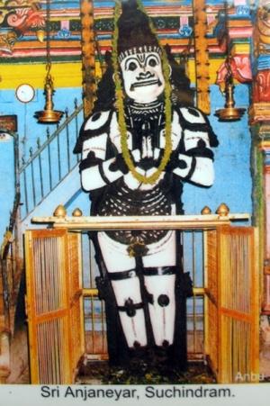 божество Ханумана в храме Сучиндрам (открытка)