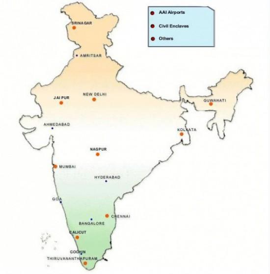 Карта международных аэропортов  Индии