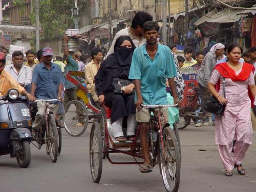 Велорикша на улице Дели
