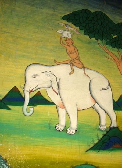 Четыре гармоничных друга: слон, обезьяна, кролик и попугай. Почти бременские музыканты. Роспись в Тикси