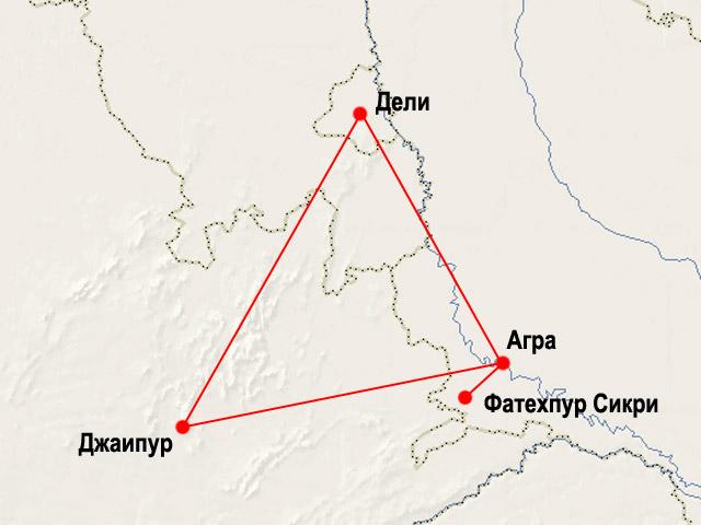 """Карта маршрута """"Золотой Треугольник"""""""