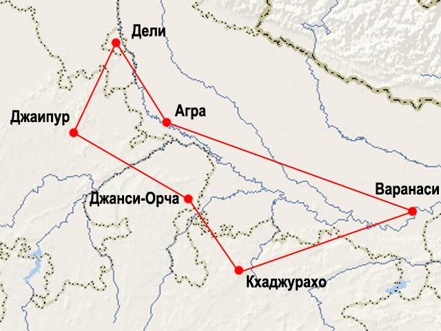 """Карта маршрута """"Золотой Шестиугольник"""""""