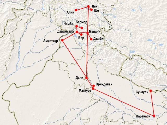 Карта маршрута второго путешествия по Индии команды Индостан.ру