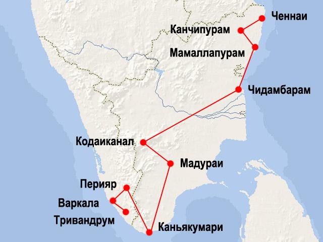 Карта маршрута поездки по Южной Индии