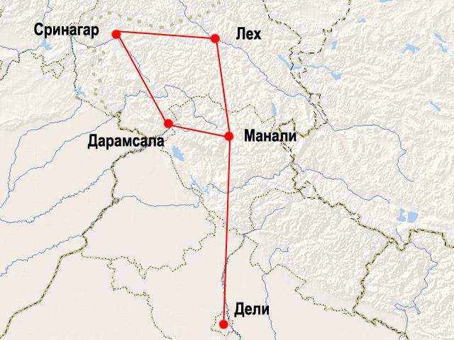 Карта маршрута поездки в Северные Гималаи