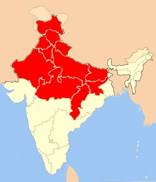 Карта Северной Индии