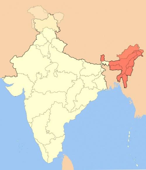 Карта Северо-Восточной Индии