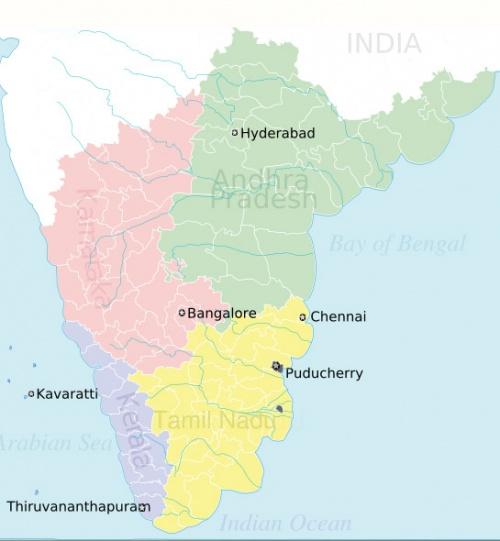 Карта Южной Индии