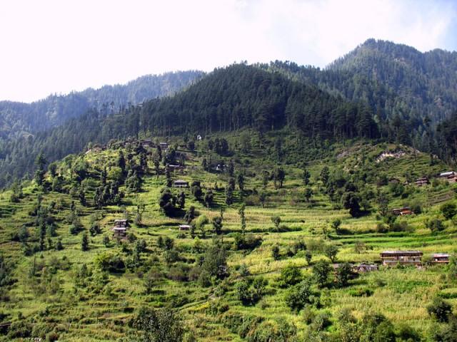 Склоны гор в долине Банджар изрыты террасами с кукурузой