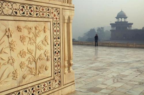 Фрагмент стены Тадж-Махала: здание украшено флоральным орнаментом и горельефами