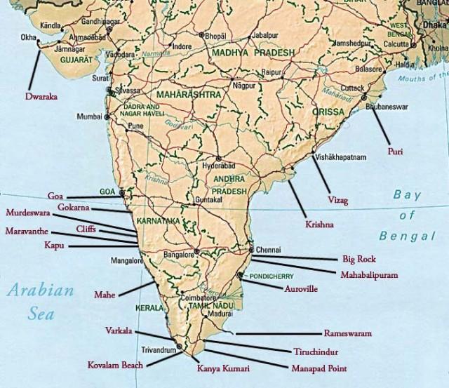 Карта потенциальных мест для серфинга в Индии