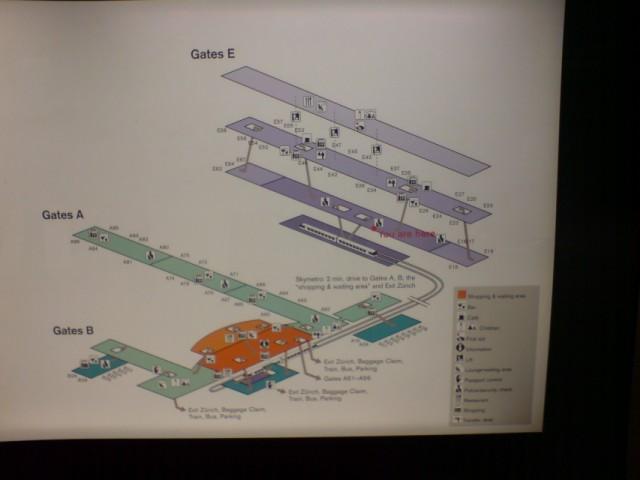 Схема гейтов международного аэропорта Зюриха